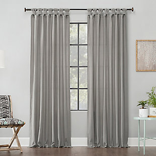 """Archaeo Washed Cotton Twist Tab 52"""" x 84"""" Silver Gray Curtain, Silver Gray, large"""