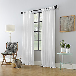 """Archaeo Washed Cotton Twist Tab 52"""" x 108"""" White Curtain, White, large"""
