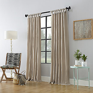 """Archaeo Washed Cotton Twist Tab 52"""" x 84"""" Oatmeal Curtain, Oatmeal, large"""