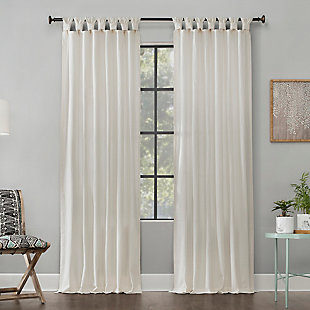 "Archaeo Washed Cotton Twist Tab 52"" x 84"" Ivory Curtain, Ivory, rollover"