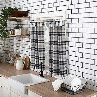"No. 918 Blair Farmhouse Plaid Semi-Sheer Tab Top Kitchen 52"" x 24"" Charcoal/Ecru Off-White Curtain Valanceand Tiers Set, Charcoal/Ecru, large"