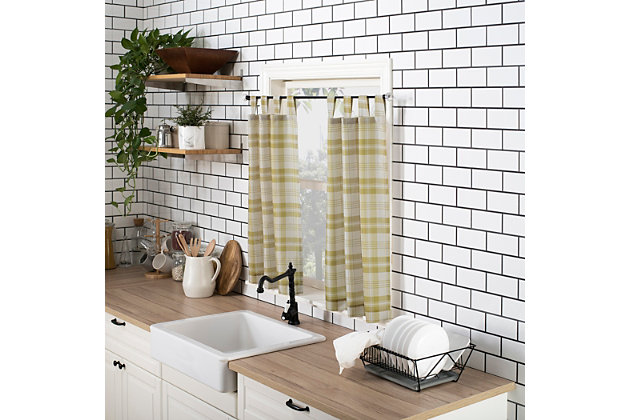 "No. 918 Blair Farmhouse Plaid Semi-Sheer Tab Top Kitchen 52"" x 24"" Gold/Ecru Off-White Curtain Valanceand Tiers Set, Gold/Ecru, large"