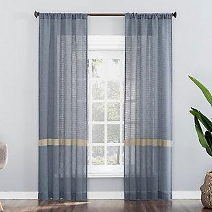 "No. 918 Elsy Accent Stripe Multi-Texture Semi-Sheer Rod Pocket 40"" x 84"" Harbor Blue Curtain Panel, Harbor Blue, large"