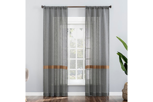 """No. 918 Elsy Accent Stripe Multi-Texture Semi-Sheer Rod Pocket 40"""" x 63"""" Steel Gray Curtain Panel, Steel Gray, large"""