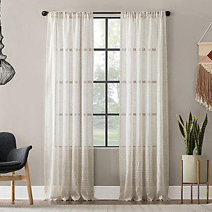 "Clean Window Textured Slub Stripe Anti-Dust Linen Blend Sheer 52"" x 84"" Linen Curtain Panel, Linen, large"