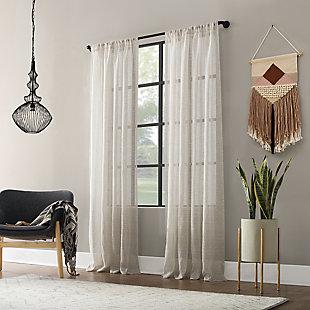 "Clean Window Textured Slub Stripe Anti-Dust Linen Blend Sheer 52"" x 84"" Linen Curtain Panel, Linen, large"