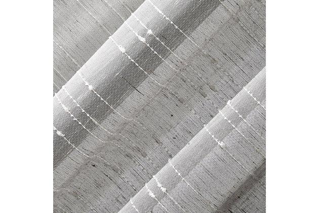 "Clean Window Textured Slub Stripe Anti-Dust Linen Blend Sheer 52"" x 95"" Gray Curtain Panel, Gray, large"
