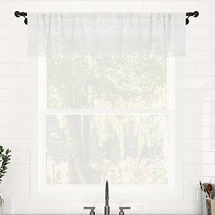 "Clean Window Textured Slub Stripe Anti-Dust Linen Blend Sheer 52"" x 84"" White Curtain Panel, White, large"