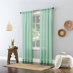 """No. 918 Delilah Embroidered Floral Semi-Sheer 50"""" x 84"""" Sea Glass Rod Pocket Curtain Panel, Sea Glass, large"""