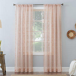 "No. 918 Delilah Embroidered Floral Semi-Sheer 50"" x 84"" Rose Quartz Rod Pocket Curtain Panel, Rose, rollover"