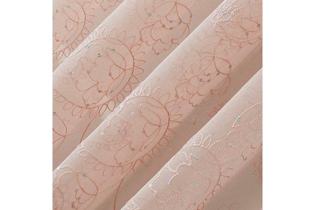 "No. 918 Delilah Embroidered Floral Semi-Sheer 50"" x 84"" Rose Quartz Rod Pocket Curtain Panel, Rose, large"