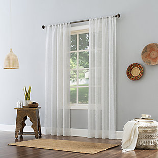"""No. 918 Delilah Embroidered Floral Semi-Sheer 50"""" x 84"""" White Rod Pocket Curtain Panel, White, large"""