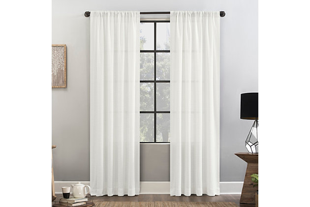 """Clean Window Waffle Weave Anti-Dust Cotton Blend Semi-Sheer 52"""" x 84"""" White Curtain Panel, White, large"""