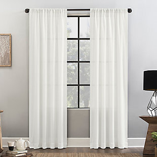 """Clean Window Waffle Weave Anti-Dust Cotton Blend Semi-Sheer 52"""" x 84"""" White Curtain Panel, White, rollover"""