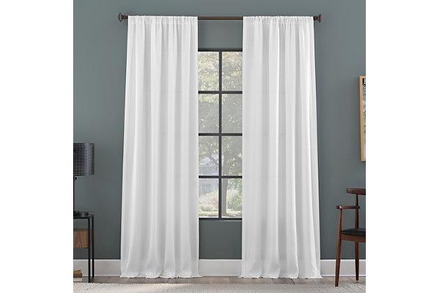 "Clean Window Raised Dobby Recycled Fiber Semi-Sheer 50"" x 84"" White Curtain Panel, White, large"