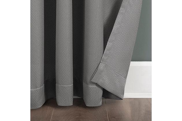 "Clean Window Raised Dobby Recycled Fiber Semi-Sheer 50"" x 96"" Gray Curtain Panel, Gray, large"