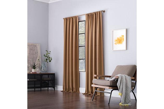 "Clean Window Raised Dobby Recycled Fiber Semi-Sheer 50"" x 84"" Pecan Curtain Panel, Pecan, large"