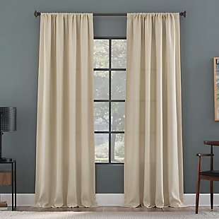 "Clean Window Raised Dobby Recycled Fiber Semi-Sheer 50"" x 84"" Ecru Curtain Panel, Ecru, rollover"