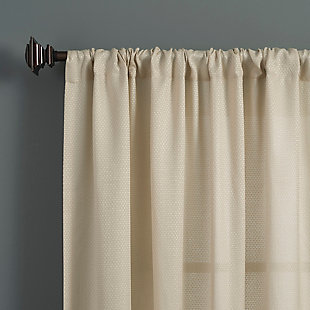 "Clean Window Raised Dobby Recycled Fiber Semi-Sheer 50"" x 84"" Ecru Curtain Panel, Ecru, large"