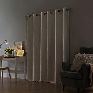 "Sun Zero Bardot Dupioni Faux Silk 100% Blackout 40"" x 84"" Pearl White Grommet Curtain Panel, Pearl White, rollover"