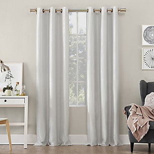 "Sun Zero Bardot Dupioni Faux Silk 100% Blackout 40"" x 84"" Pearl White Grommet Curtain Panel, Pearl White, large"