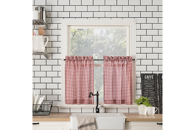"""No. 918 Perry Farmhouse Plaid Semi-Sheer 54"""" x 36"""" Red/White Rod Pocket Kitchen Curtain Valanceand Tiers Set, Red/White, large"""
