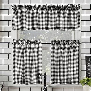 "No. 918 Perry Farmhouse Plaid Semi-Sheer 54"" x 24"" Black/White Rod Pocket Kitchen Curtain Valanceand Tiers Set, Black/White, rollover"
