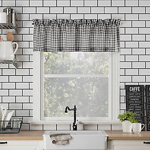"No. 918 Perry Farmhouse Plaid Semi-Sheer 54"" x 24"" Black/White Rod Pocket Kitchen Curtain Valanceand Tiers Set, Black/White, large"