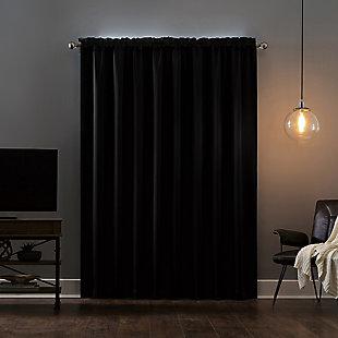 "Sun Zero Oslo Theater Grade Extreme 100% Blackout 52"" x 84"" Black Rod Pocket Curtain Panel, Black, large"