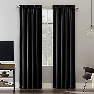 "Sun Zero Oslo Theater Grade Extreme 100% Blackout 52"" x 84"" Black Rod Pocket Curtain Panel, Black, large"