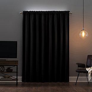 "Sun Zero Oslo Theater Grade Extreme 100% Blackout 52"" x 84"" Coal Rod Pocket Curtain Panel, Coal, large"