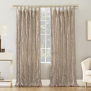 "No. 918 Odelia Distressed Velvet Semi-Sheer 50"" x 63"" Stone Tab Top Curtain Panel, Stone, large"