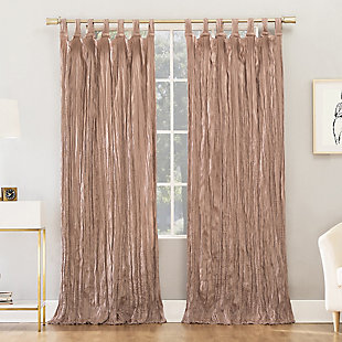 "No. 918 Odelia Distressed Velvet Semi-Sheer 50"" x 84"" Blush Pink Tab Top Curtain Panel, Blush, rollover"