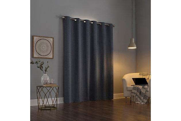 "Sun Zero Circa Textured Weave Thermal Extreme 100% Blackout 40"" x 96"" Storm Grommet Curtain Panel, Storm, large"