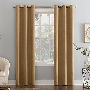 "Sun Zero Circa Textured Weave Thermal Extreme 100% Blackout 40"" x 63"" Pecan Grommet Curtain Panel, Pecan, large"