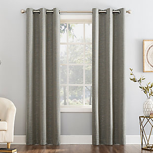 "Sun Zero Circa Textured Weave Thermal Extreme 100% Blackout 40"" x 84"" Gray Grommet Curtain Panel, Gray, rollover"