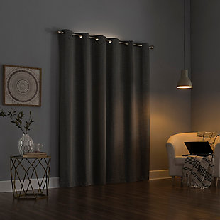 "Sun Zero Circa Textured Weave Thermal Extreme 100% Blackout 40"" x 84"" Gray Grommet Curtain Panel, Gray, large"