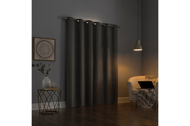 """Sun Zero Circa Textured Weave Thermal Extreme 100% Blackout 40"""" x 84"""" Gray Grommet Curtain Panel, Gray, large"""