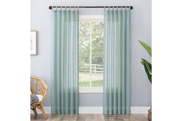 "No. 918 Ceri Linen Texture Jute Tabs Semi-Sheer 50"" x 63"" Soft Teal Tab Top Curtain Panel, Soft Teal, large"