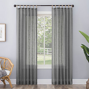 "No. 918 Ceri Linen Texture Jute Tabs Semi-Sheer 50"" x 84"" Gray Tab Top Curtain Panel, Gray, rollover"