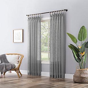 "No. 918 Ceri Linen Texture Jute Tabs Semi-Sheer 50"" x 84"" Gray Tab Top Curtain Panel, Gray, large"