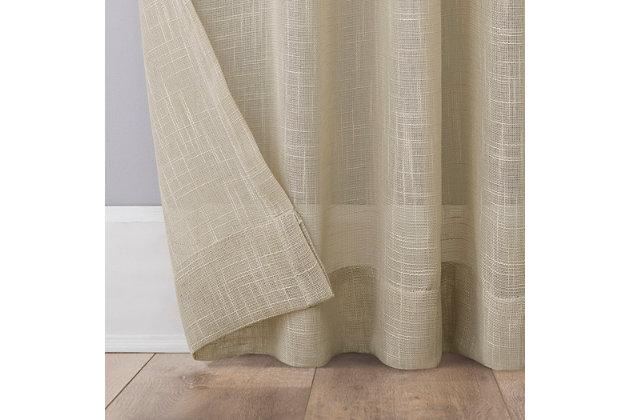 "No. 918 Ceri Linen Texture Jute Tabs Semi-Sheer 50"" x 96"" Linen Tab Top Curtain Panel, Linen, large"