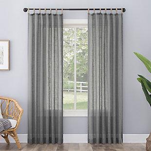 "No. 918 Ceri Linen Texture Jute Tabs Semi-Sheer 50"" x 84"" Gray Tab Top Curtain Panel, Gray, rollover"