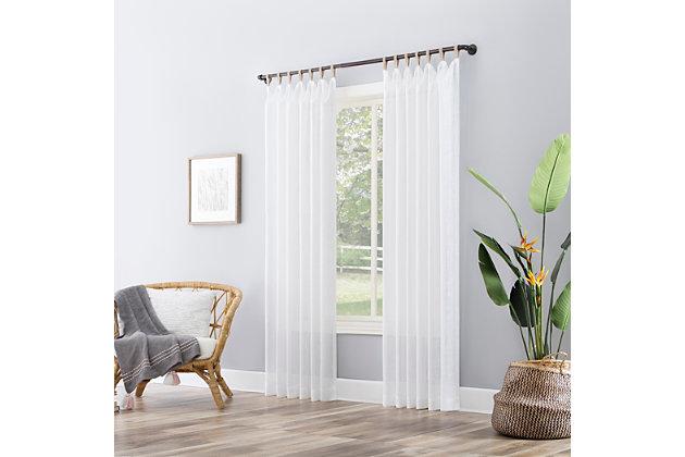 "No. 918 Ceri Linen Texture Jute Tabs Semi-Sheer 50"" x 96"" White Tab Top Curtain Panel, White, large"