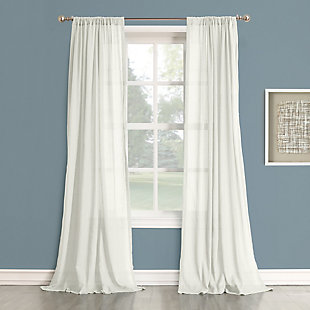 "No. 918 Hendricks Open Weave Cotton Semi-Sheer 50"" x 84"" White Rod Pocket Curtain Panel, White, rollover"