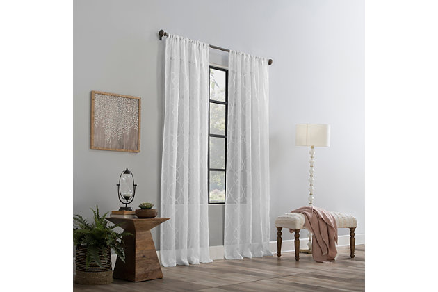 """Clean Window Embroidered Trellis Anti-Dust Sheer 50"""" x 96"""" White Curtain Panel, White, large"""
