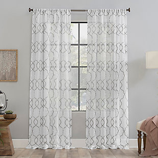 "Clean Window Embroidered Trellis Anti-Dust Sheer 50"" x 84"" Gray Curtain Panel, Gray, rollover"