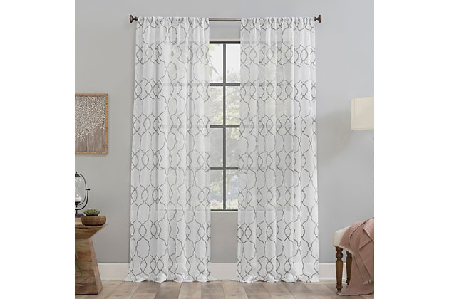 """Clean Window Embroidered Trellis Anti-Dust Sheer 50"""" x 84"""" Gray Curtain Panel, Gray, large"""