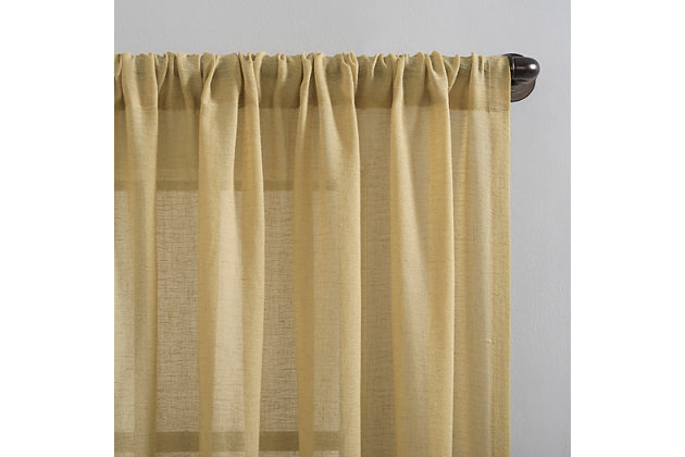 """Clean Window Crushed Texture Anti-Dust Sheer Linen Blend 52"""" x 63"""" Flax Yellow Curtain Panel, Flax Yellow, large"""