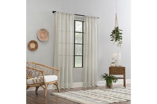 "Clean Window Crushed Texture Anti-Dust Sheer Linen Blend 52"" x 84"" Ecru Curtain Panel, Ecru, large"